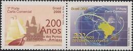 BRAZIL - SE-TENANT 200th ANNIVERSARY OF THE BRAZILIAN OPENNING OF PORTS TO FRIENDLY NATIONS 2008 - MNH - Brazil
