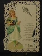 Découpis. 5. Petit Carte à Dentelles Du 1er Avril Avec Découpis D'une Jeune Fille Tenant Des Fleurs. A été Envoyée - Enfants