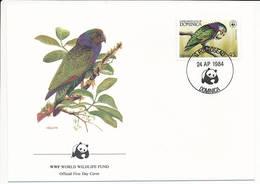 Mi 837 FDC / WWF World Wildlife Fund / Birds Imperial Amazon Sisserou Amazona Imperialis - 24 April 1984 - Dominica (1978-...)