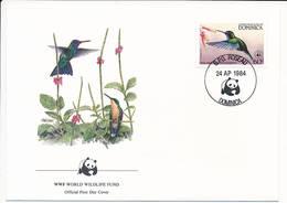 Mi 838 FDC / WWF World Wildlife Fund / Birds Blue-headed Hummingbird Cyanophaia Bicolor - 24 April 1984 - Dominica (1978-...)
