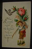 Découpis. 6. Petit Carte Avec Un Jeune Homme En Découpis - Enfants