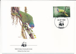 Mi 839 FDC / WWF World Wildlife Fund / Birds Red-necked Amazon Parrot Amazona Arausiaca - 24 April 1984 - Dominique (1978-...)