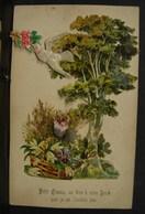Découpis. 8. Petit Carte Avec Une Colombe Et Des Fleurs Et Un Arbre En Découpis - Fleurs