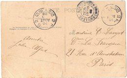 Sur CPA VILLERS BRETONNEUX 2 Oblitérations A IDENTIFIER Datées Du 20 Août 1908 SEMEUSE Circulé Vers PARIS - Marcophilie (Lettres)