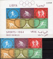 Olympiade Tokio 1964 LIBYA 166/1ZD+Block 8A ** 27€ Fußball Hürden Radsport Kunstsprung Ss Box Bloc Sheet Bf Olympic - Libye