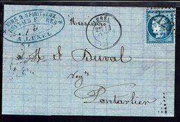 """FR """"Reynaud Frères Lunel"""" N° 60 Losange GC 2123 De Lunel, Du 14 Octobre 1873 Pour Pontarlier - B/TB - - Marcophilie (Lettres)"""