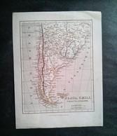 Carte Géographique Ancienne Plata, Chili, Paraguay Et Patagonie 19 Siècle - Geographical Maps