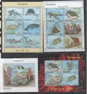 TANZANIA , 2014, MNH, MARINE LIFE, TURTLES, WHALES, SHARKS, FISH, CRABS, SEAHORSES,SHELLS, OCTOPUS, 3 SLTS+ S/SHEET - Whales