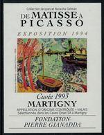 Rare // Etiquette De Vin // Art-Peinture // Martigny, De Matisse à Picasso - Art