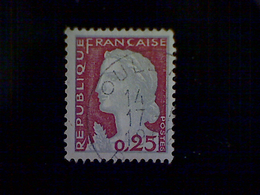 France, Scott #968, Used (o), 1960, Marianne (de Decaris), 25cts, Lake And Gray - France