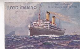 LLOYD ITALIANO, SERVIZIO RAPIDO MEDITERRANEO~BUENOS AIIRES. E OLIVERI &C. CIRCULEEE 1910 TENERIFE A BUENOS AIRES - BLEUP - Paquebote