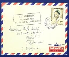 1960 Covers, Douala - Bègles Gironde France, Premier Jour De L'Independance, Par Avion, Cameroun, Cameroon - Cameroon (1960-...)