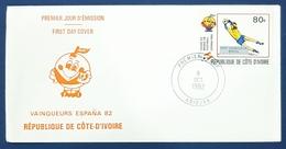 1982 FDC, Vainqueurs España 82, Abidjan, Côte D'Ivoire, Ivory Coast - Ivory Coast (1960-...)