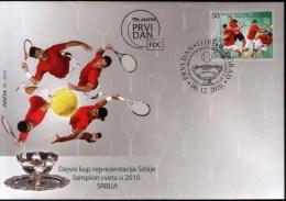 Serbia 2010 Davis Cup Winners, Tennis, Djokovic, Tipsarevic, Troicki, Zimonjic, FDC - Tennis
