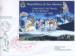 SAN MARINO - FDC VENETIA  2003 - MONDIALI SCI NORDICO - BLOCCO FOGLIETTO - VIAGGIATA - FDC