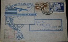 O) 1930 VENEZUELA, LIBERTY AND FLAG SCT 398. ALBATROSS SC C26 4c, CORRESPONDECIA AEROPOSTAL-CENTENARY, TO BUENOS AIRES - Uruguay