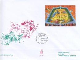 SAN MARINO - FDC VENETIA  2003 - ARTE DEI BURATTINI - BLOCCO - VIAGGIATA - FDC