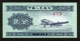 China 1953, 2 Fen - UNC, Kassenfrisch - Chili