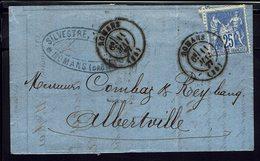 """FR """"Silvestre Banquier à Romans"""" Lettre Du 11 Mai 1877, Avec Type Sage 25 Ct, Pour Albertville - B/TB - - Marcophilie (Lettres)"""