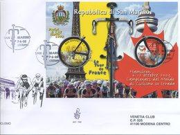 SAN MARINO - FDC VENETIA  2003 - CICLISMO BLOCCO FOGLIETTO - SPORT - VIAGGIATA - FDC