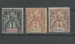 MOHELI Scott 1, 2, 3 Yvert 1, 2, 3 (4) * #2 Fournier 9,00 $ 1906-7 - Mohéli (1906-1912)