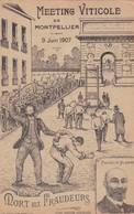 MEETING VITICOLE DE MONTPELLIER 9 JUIN 1907. MORT AUX FRAUDEURS. MARCELIN ALBERT. VOYAGEE L. LOUSTALAN CIRCA 1907- BLEUP - Histoire