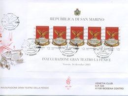 SAN MARINO - FDC VENETIA  2003 - TEATRO LA FENICE - FOGLIETTO - ARTE - VIAGGIATA - FDC