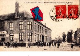 """SAILLY Sur-la-lys - La Mairie Et L'Auberge De """"la Croix-de-Sailly"""" - Carte Circulée Et Très Animée - Francia"""