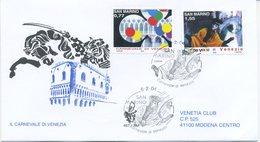 SAN MARINO - FDC VENETIA  2004 - CARNEVALE DI VENEZIA - VIAGGIATA - FDC