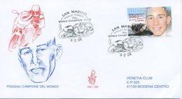 SAN MARINO - FDC VENETIA  2004 - POGGIALI - MOTOCICLISMO - VIAGGIATA - FDC