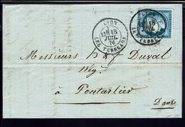 """FR """"Comptoir D'Escompte Bine. Genton Et Cie Lyon"""" N° 60 Sur Lettre, Oblitération Du 18 Juillet 1876 Pour Pontalier. B/TB - Marcophilie (Lettres)"""