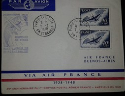 O) 1948 FRANCE, MODERN PLANE AND ADER'S EOLE SC CB3 40fr + 10fr- THE EOLE 1897,  AIR POSTAL SERVICE FRANCE -SOUTH AMERIC - Lettres & Documents