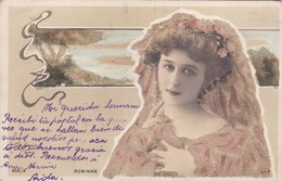 ROBINNE. ACTRESS. POSTALE AVEC PETITE DECORATION. VOYAGEE CIRCA 1900s - BLEUP - Künstler