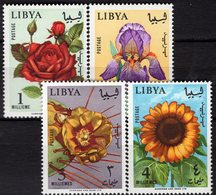 Blumenpracht 1965 Libya 193/6 ** 9€ Blumen Edelrose Schwertlilie Feigen-Kaktus Sonnenblume Flower Art Set Bf Flora - Libye
