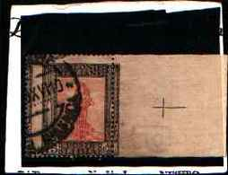 90246) LIBIA-15 C.Serie Pittorica, Filigrana Corona - Luglio 1921 -USATO-VARIETà DENTELLATURA SPOSTATA - Libia