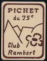 Rare // Etiquette De Vin // Montagne // Pichet Du 75ème , Club Rambert - Montagnes