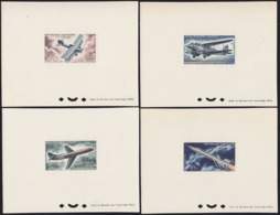 GABON (1962) Biplanes To Rocket. Set Of 4 Deluxe Sheets. Scott Nos C7-10, Yvert Nos PA7-10. - Gabon (1960-...)