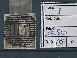 BELGIUM COB 1 USED 114 DENDERMONDE - 1849 Epaulettes