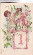 ANGELES ANGELS ANGES 1° ENERO JANVIER JANUARY. MS. GAUFRE VOYAEE 1906 TIMBRE ARRACHE  - BLEUP - Anges