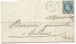 ENVELOPPE N° 29 BLEU NAPOLEON / LYON 1870 / POUR SAILLANS - 1849-1876: Classic Period