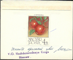 HUNGARY (1986) Apples. Special Perforated Proof Mounted On Card With Official Stamp And Signature. Scott 3010 - Essais, épreuves & Réimpressions
