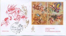 SAN MARINO - FDC VENETIA  2004 - NATALE - BLOCCO - ARTE - VIAGGIATA - FDC