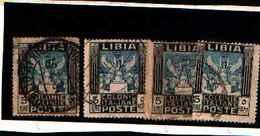 90248) LIBIA- 5 LIRE.Serie Pittorica, Filigrana Corona - Luglio 1921 -USATO-UN PEZZO - Libia