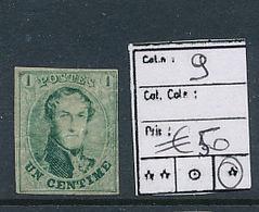 BELGIUM COB 9 MINT HEAVY HINGED THINNED AMINCI - 1858-1862 Medallions (9/12)