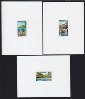 CAMBODIA (1963) Waterfall. Lake. Beach. Set Of 3 Deluxe Sheets. Scott Nos 123-5, Yvert Nos 138-8. Hard To Find! - Cambodia
