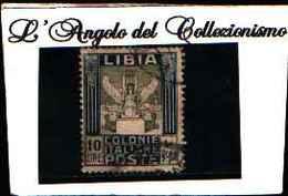 90249) LIBIA- 10 LIRE.Serie Pittorica, Filigrana Corona - Luglio 1921 -USATO-UN PEZZO - Libia