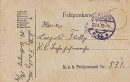 Feldpostkarte Wien Nach K.k. Eisenbahnwache K.u.k. Feldpostamt 531 - 1918 (38779) - 1850-1918 Imperium
