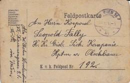 Feldpostkarte Wien Nach K.k. Eisb. Sich. Kompanie Hptm. V. Olschbauer - K.u.k. Feldpostamt 192 - 1918 (38780) - 1850-1918 Imperium