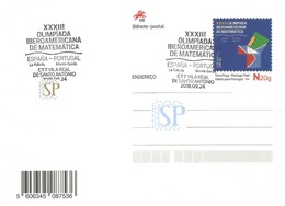 Portugal 2018 Inteiro Postal Carimbo Comemorativo Olimpíada IberoAmericana Matemática España Mathematik Spain - Interi Postali