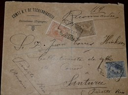 O) 1889 CIRCA-FRANCE,KING ALFONSO XIII COMUNICACIONES-SCT 259 10c- SCT 265 40c -SCT 257 5c, RECOMMENDED-COMTE A.I. DE TS - 1876-1898 Sage (Type II)